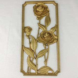 Vtg Home Interiors Gold Roses Wall Art Regency